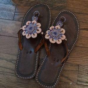 Beaded Flip Flop Sandals 38 Women's 8 Leather